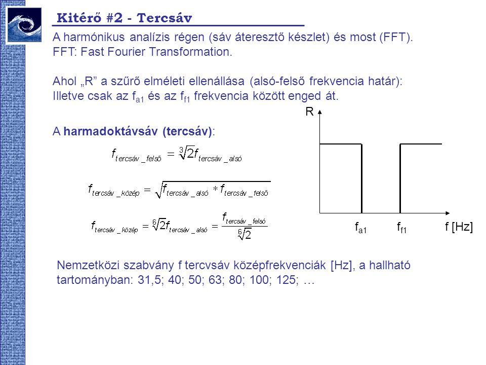 Kitérő #2 - Tercsáv A harmónikus analízis régen (sáv áteresztő készlet) és most (FFT). FFT: Fast Fourier Transformation.