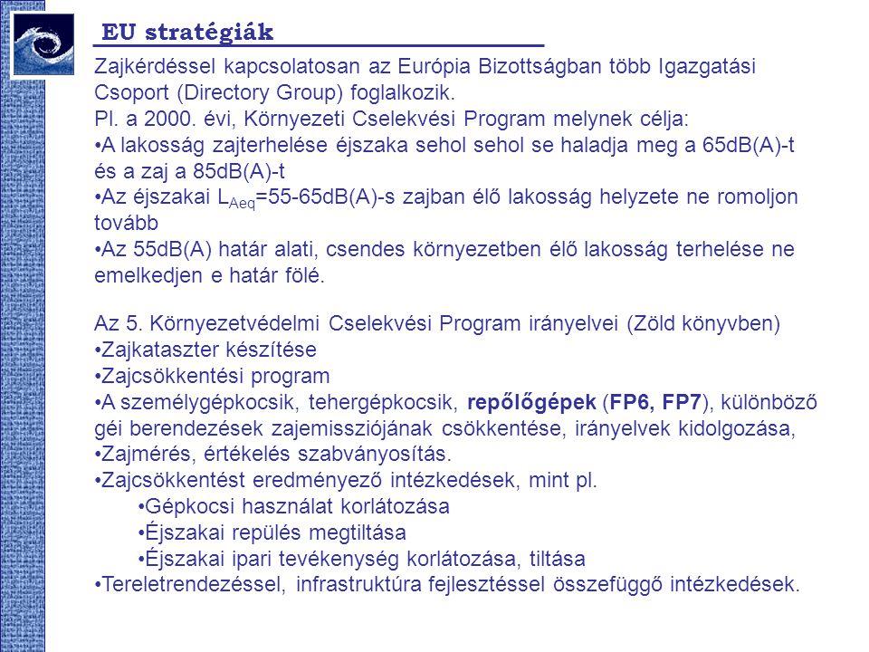 EU stratégiák Zajkérdéssel kapcsolatosan az Európia Bizottságban több Igazgatási Csoport (Directory Group) foglalkozik.