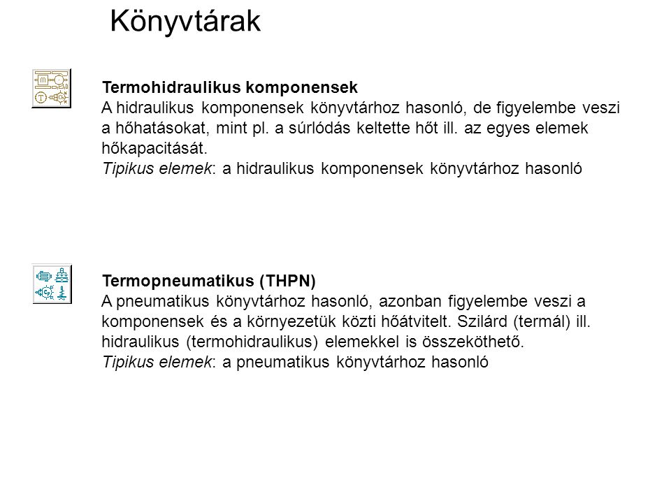 Könyvtárak Termohidraulikus komponensek