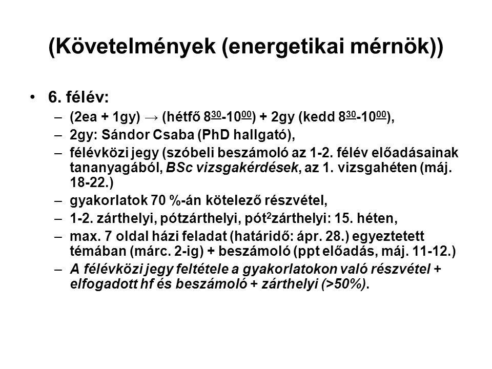 (Követelmények (energetikai mérnök))