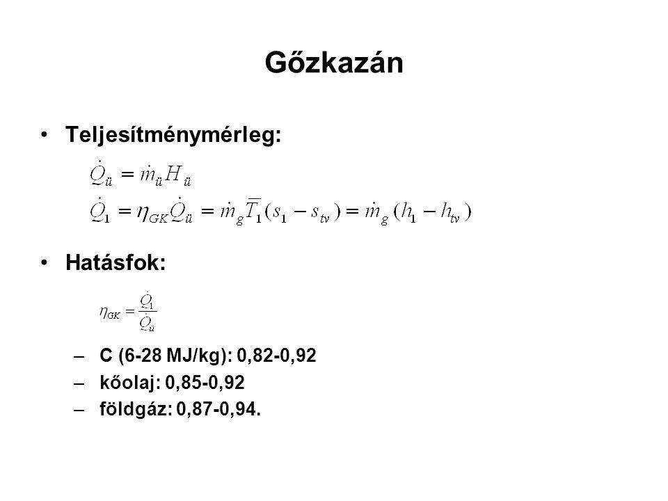 Gőzkazán Teljesítménymérleg: Hatásfok: C (6-28 MJ/kg): 0,82-0,92