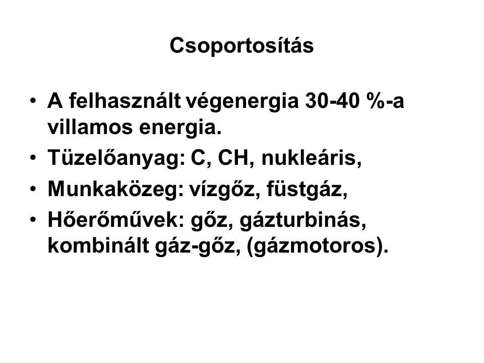Csoportosítás A felhasznált végenergia 30-40 %-a villamos energia. Tüzelőanyag: C, CH, nukleáris, Munkaközeg: vízgőz, füstgáz,