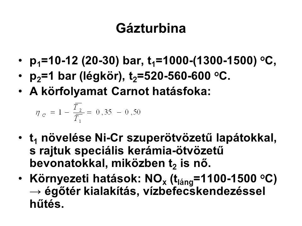 Gázturbina p1=10-12 (20-30) bar, t1=1000-(1300-1500) oC,