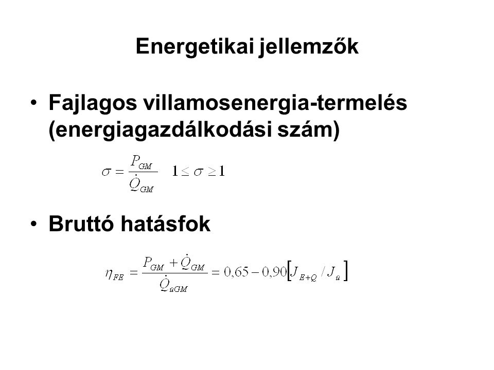 Energetikai jellemzők