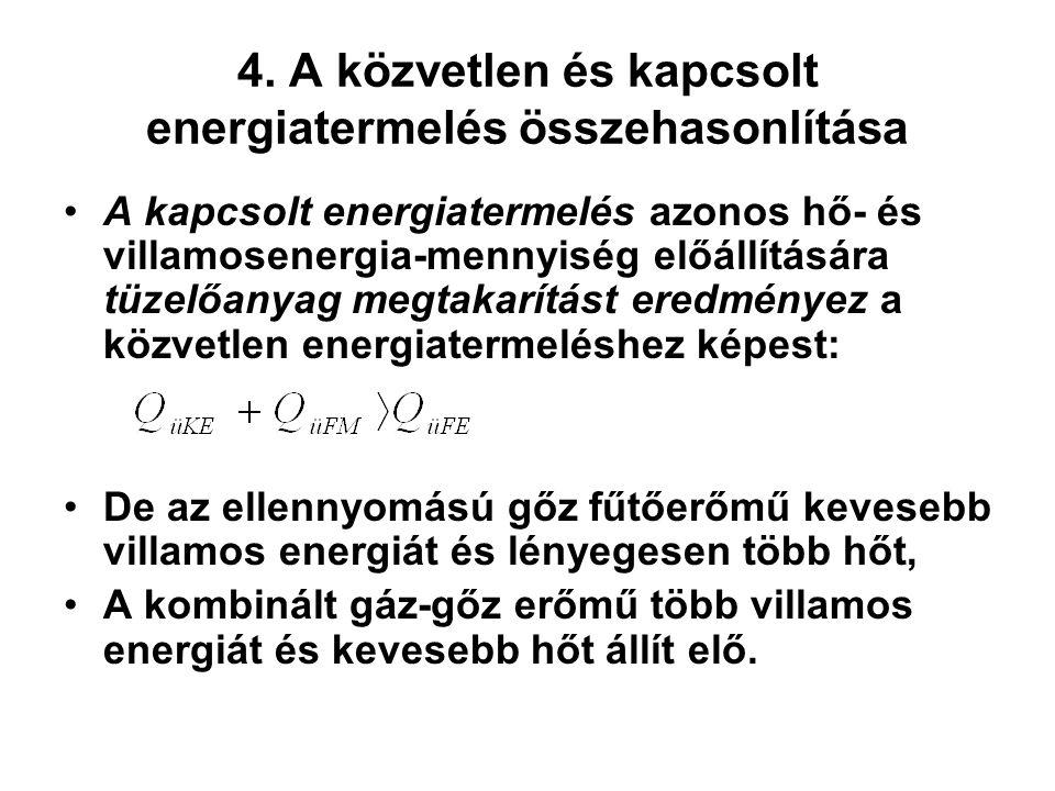 4. A közvetlen és kapcsolt energiatermelés összehasonlítása