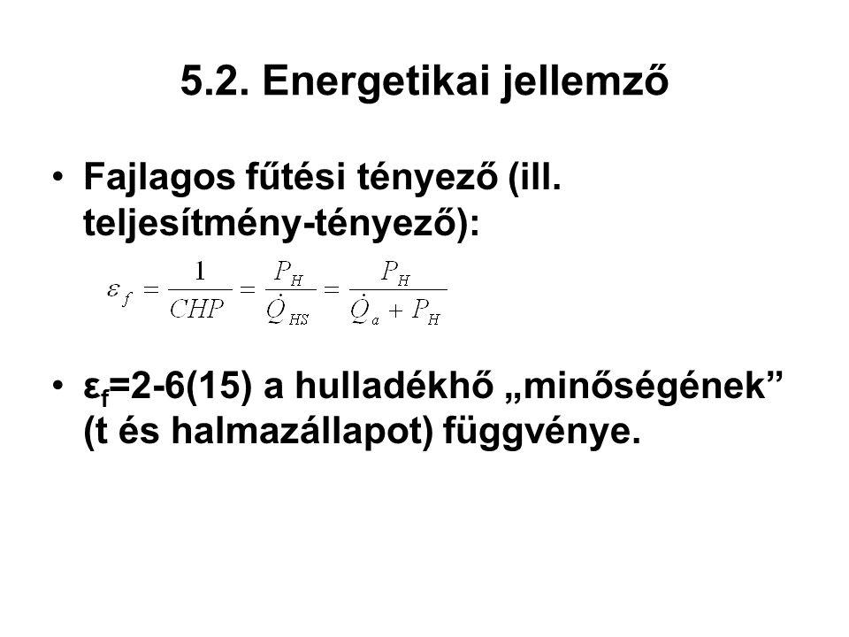 5.2. Energetikai jellemző Fajlagos fűtési tényező (ill.