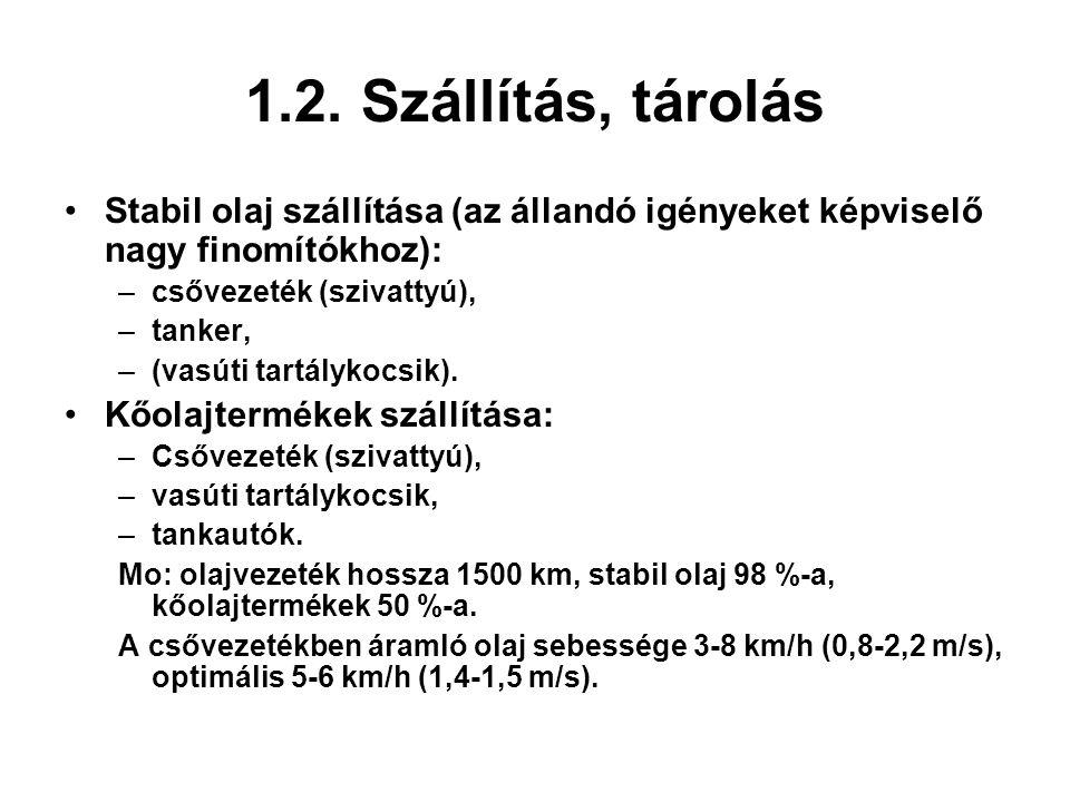 1.2. Szállítás, tárolás Stabil olaj szállítása (az állandó igényeket képviselő nagy finomítókhoz): csővezeték (szivattyú),