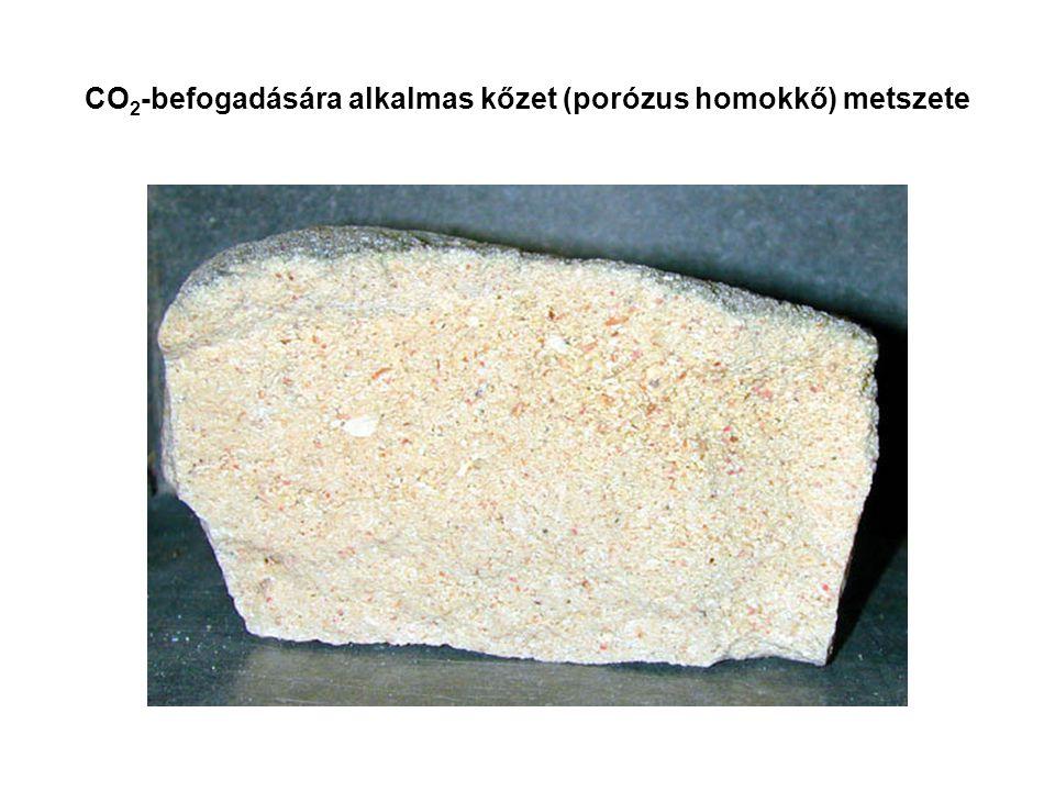 CO2-befogadására alkalmas kőzet (porózus homokkő) metszete