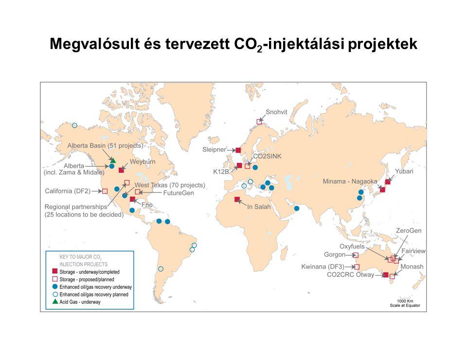 Megvalósult és tervezett CO2-injektálási projektek