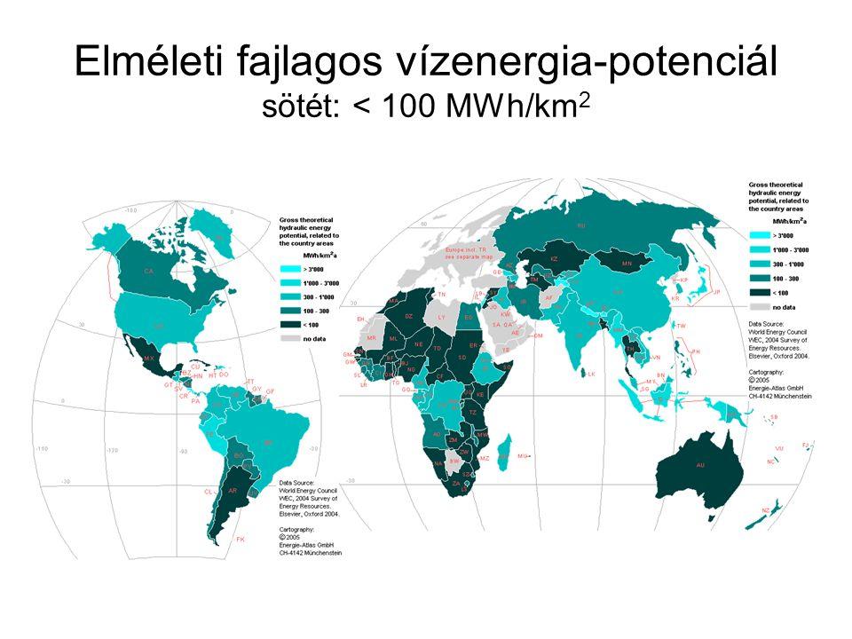 Elméleti fajlagos vízenergia-potenciál sötét: < 100 MWh/km2