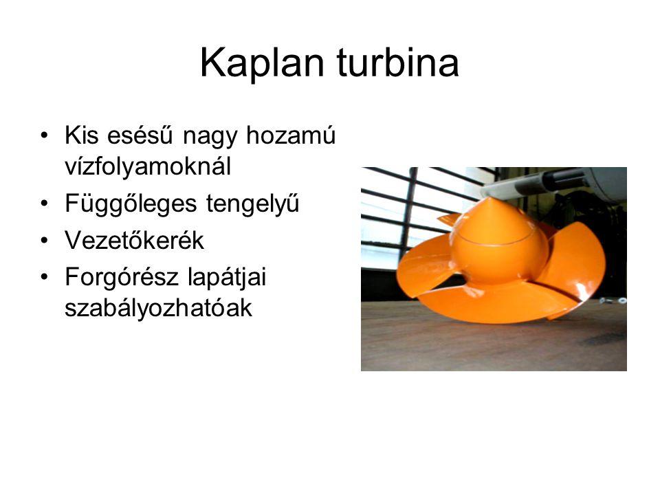 Kaplan turbina Kis esésű nagy hozamú vízfolyamoknál