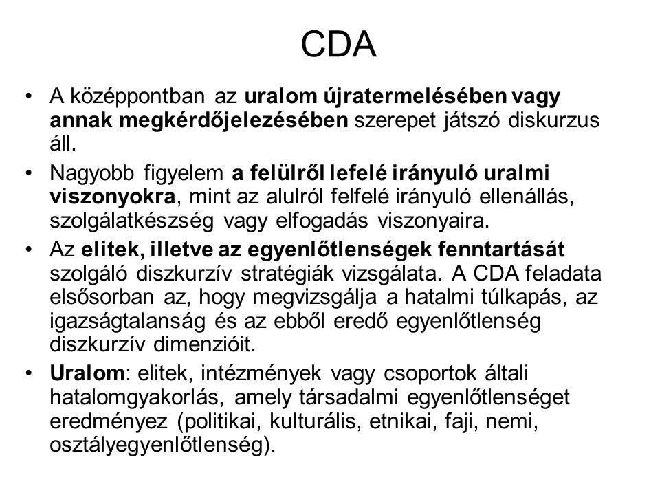 CDA A középpontban az uralom újratermelésében vagy annak megkérdőjelezésében szerepet játszó diskurzus áll.