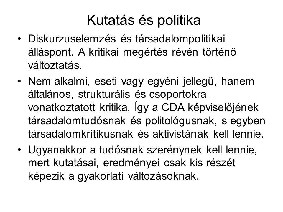 Kutatás és politika Diskurzuselemzés és társadalompolitikai álláspont. A kritikai megértés révén történő változtatás.