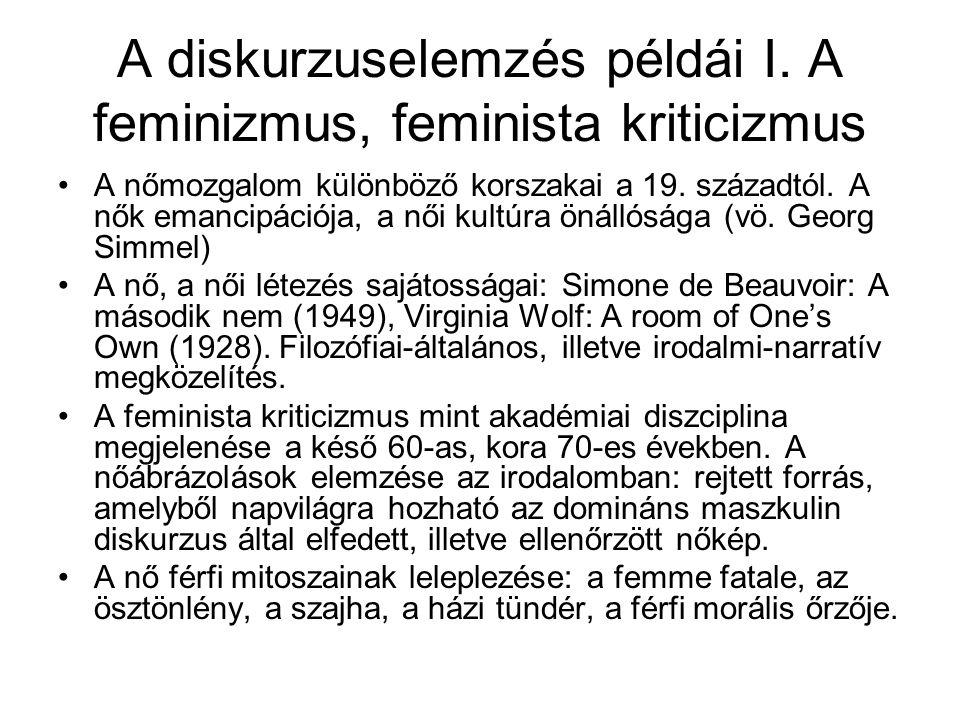 A diskurzuselemzés példái I. A feminizmus, feminista kriticizmus