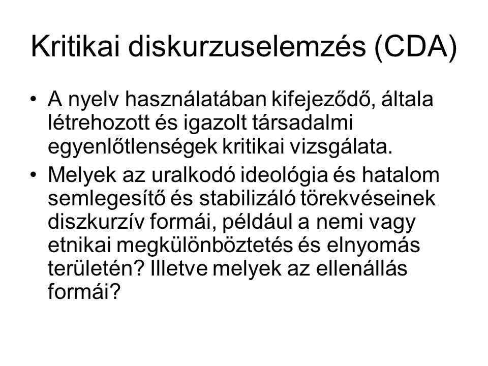 Kritikai diskurzuselemzés (CDA)
