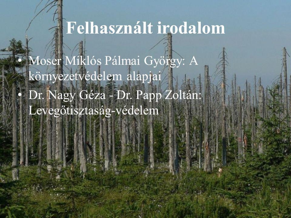 Felhasznált irodalom Moser Miklós Pálmai György: A környezetvédelem alapjai.