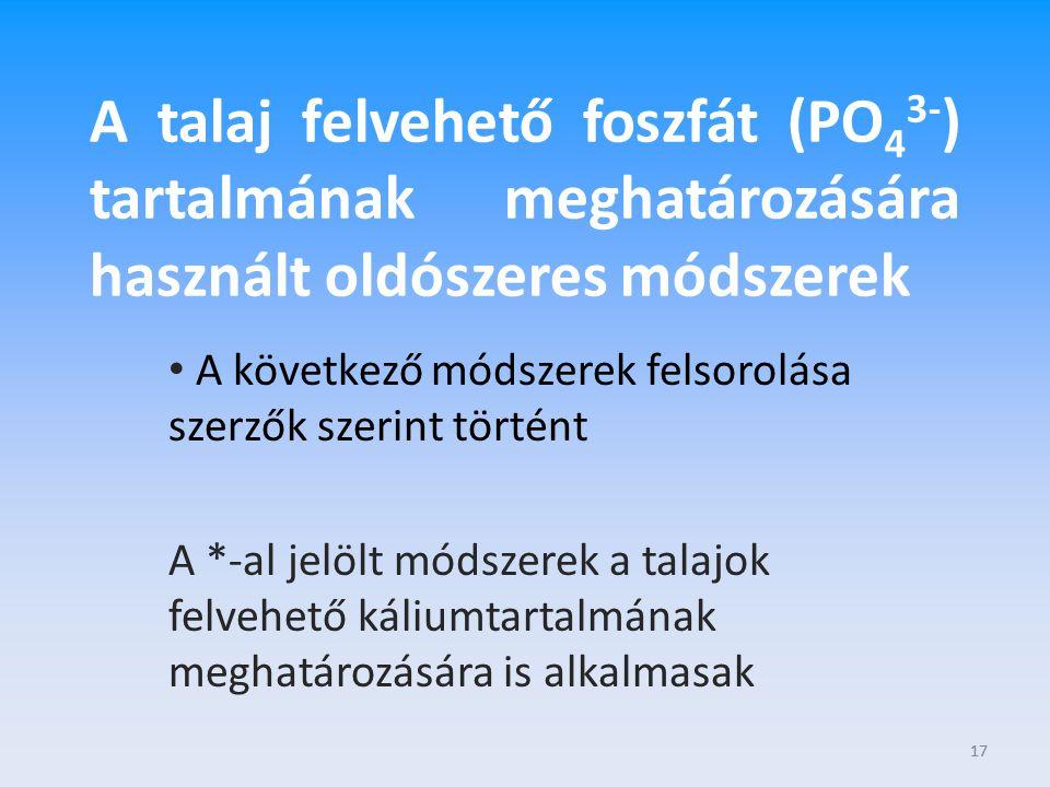 A talaj felvehető foszfát (PO43-) tartalmának meghatározására használt oldószeres módszerek
