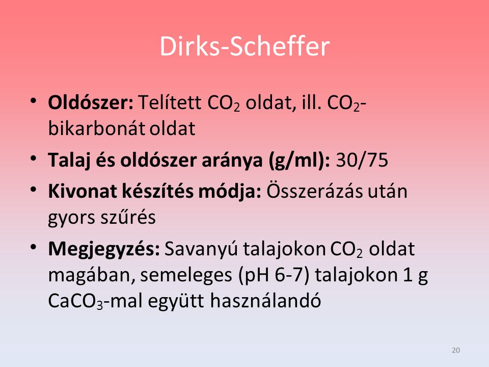 Dirks-Scheffer Oldószer: Telített CO2 oldat, ill. CO2-bikarbonát oldat