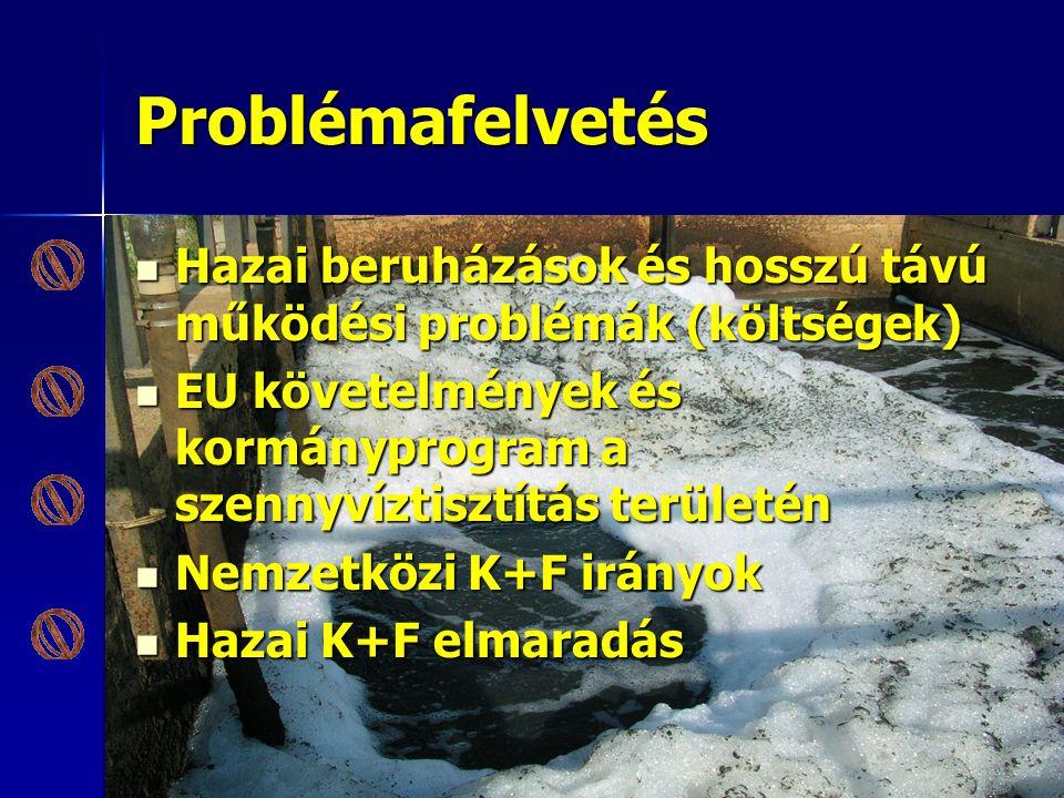 Problémafelvetés Hazai beruházások és hosszú távú működési problémák (költségek) EU követelmények és kormányprogram a szennyvíztisztítás területén.