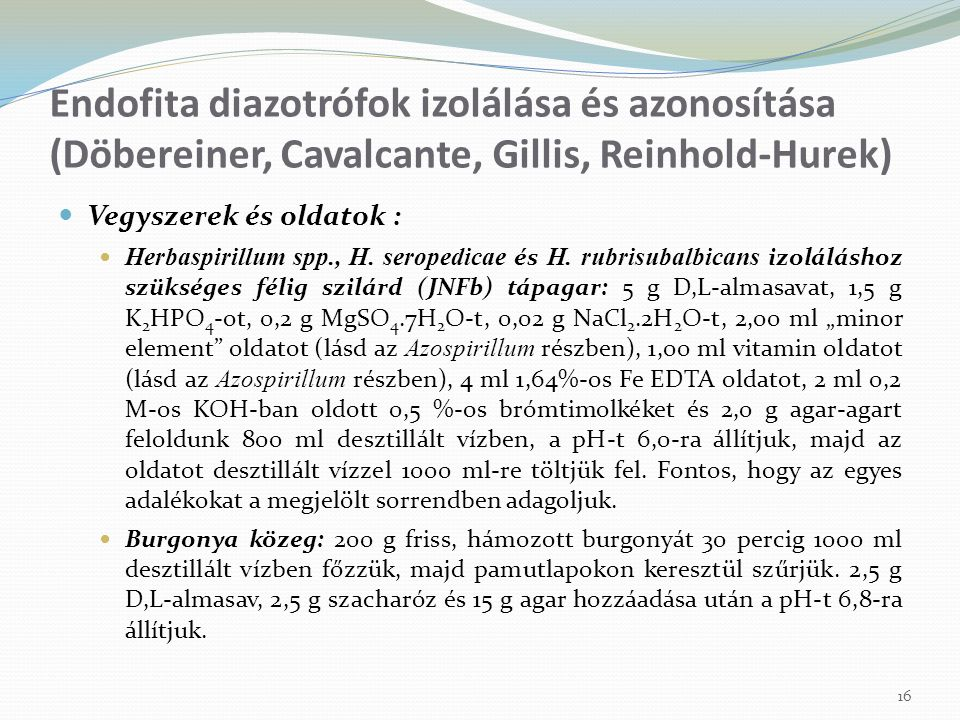 Endofita diazotrófok izolálása és azonosítása (Döbereiner, Cavalcante, Gillis, Reinhold-Hurek)