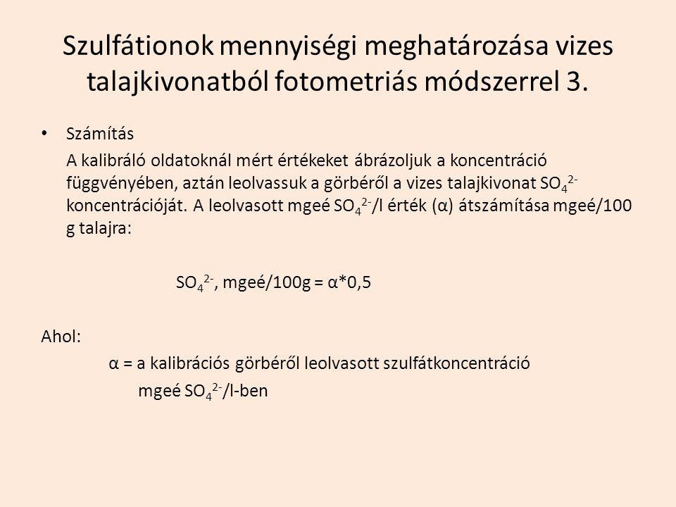 Szulfátionok mennyiségi meghatározása vizes talajkivonatból fotometriás módszerrel 3.