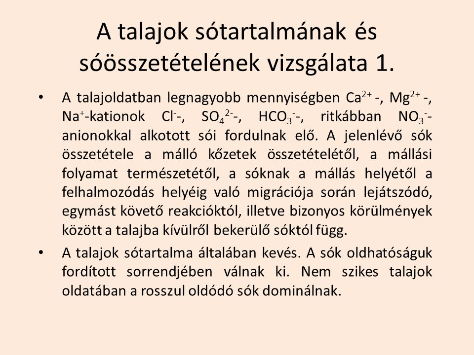 A talajok sótartalmának és sóösszetételének vizsgálata 1.