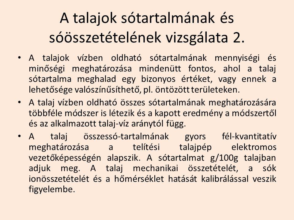 A talajok sótartalmának és sóösszetételének vizsgálata 2.