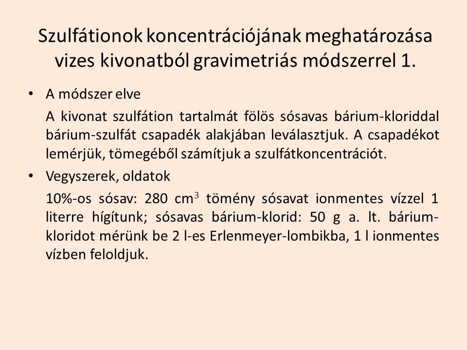 Szulfátionok koncentrációjának meghatározása vizes kivonatból gravimetriás módszerrel 1.