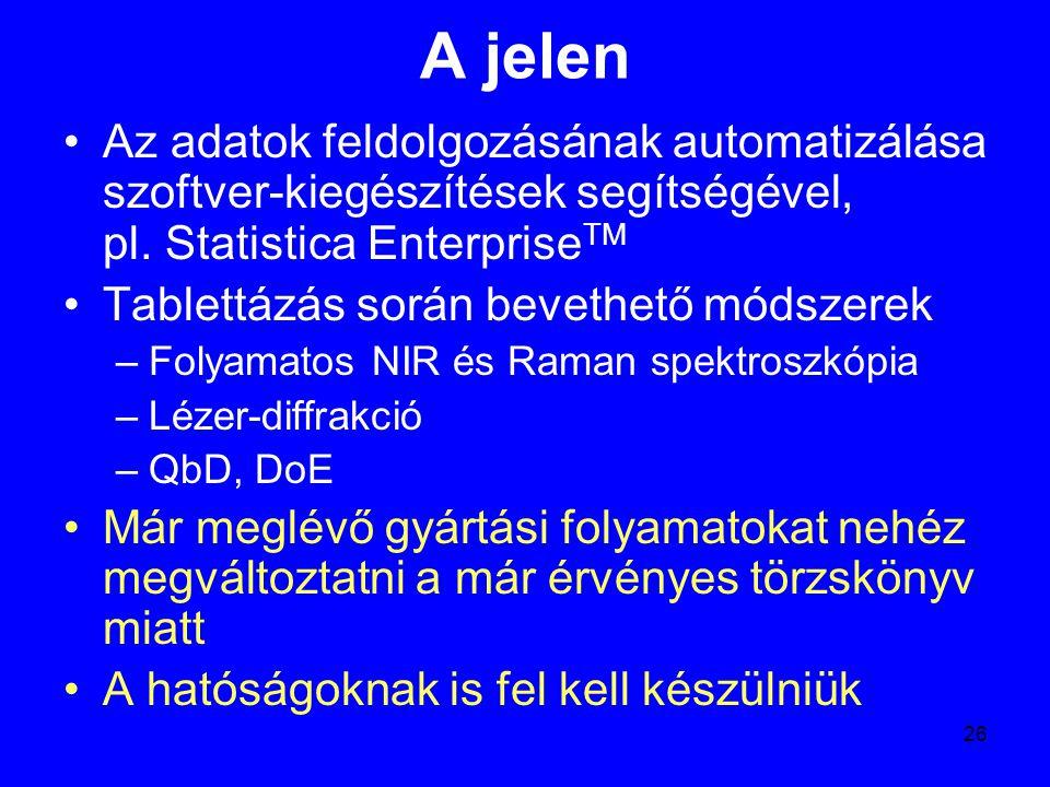 A jelen Az adatok feldolgozásának automatizálása szoftver-kiegészítések segítségével, pl. Statistica EnterpriseTM.