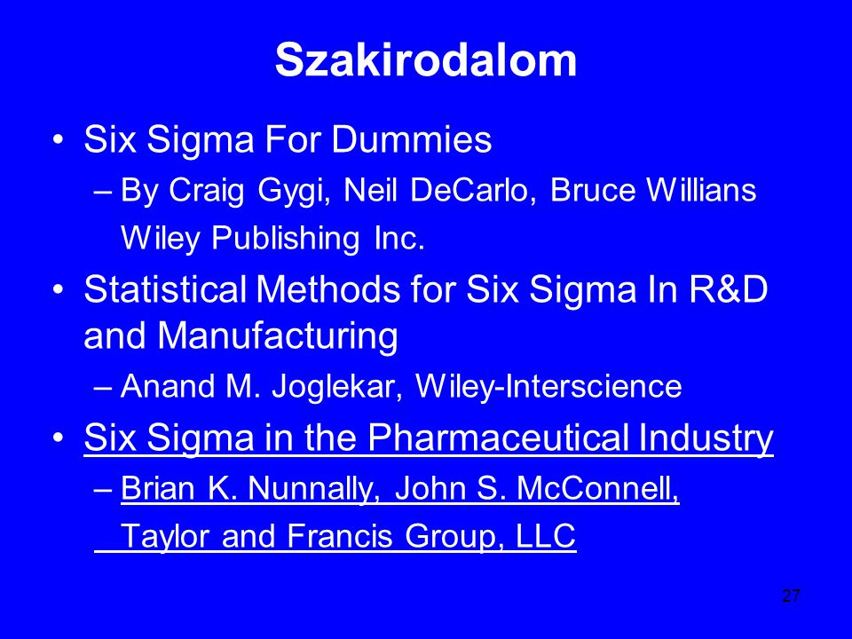 Szakirodalom Six Sigma For Dummies