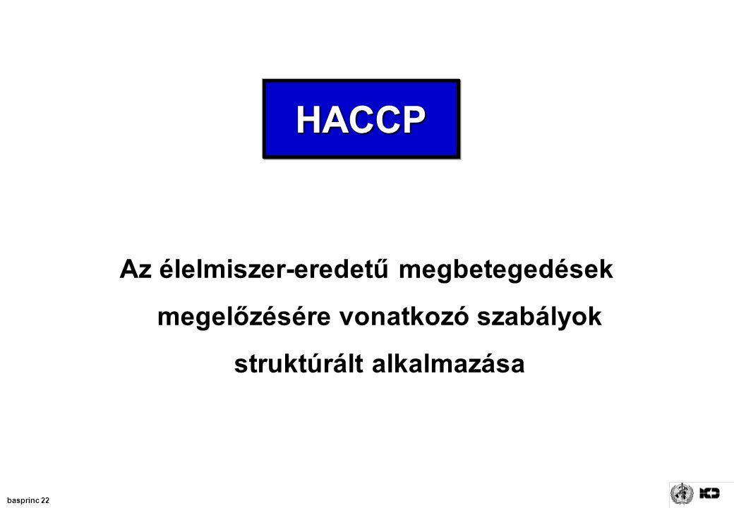 HACCP Az élelmiszer-eredetű megbetegedések megelőzésére vonatkozó szabályok struktúrált alkalmazása.