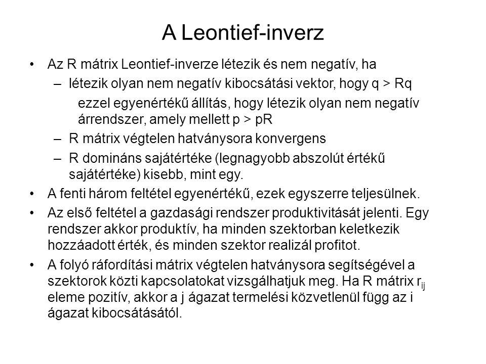 A Leontief-inverz Az R mátrix Leontief-inverze létezik és nem negatív, ha. létezik olyan nem negatív kibocsátási vektor, hogy q > Rq.