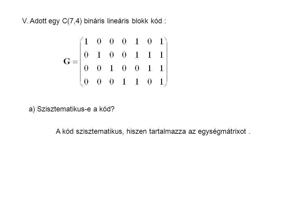 V. Adott egy C(7,4) bináris lineáris blokk kód :