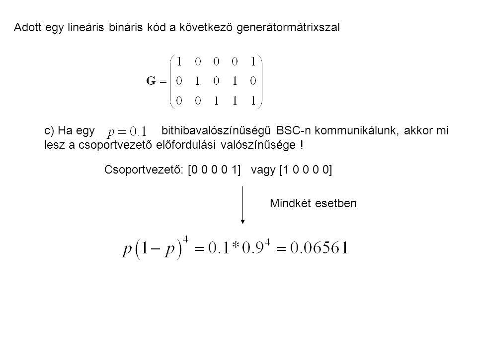 Adott egy lineáris bináris kód a következő generátormátrixszal