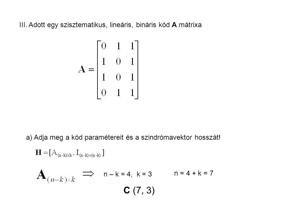III. Adott egy szisztematikus, lineáris, bináris kód A mátrixa