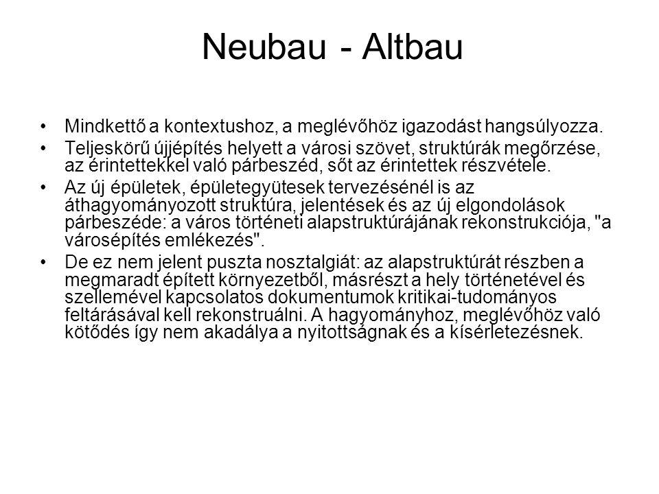 Neubau - Altbau Mindkettő a kontextushoz, a meglévőhöz igazodást hangsúlyozza.