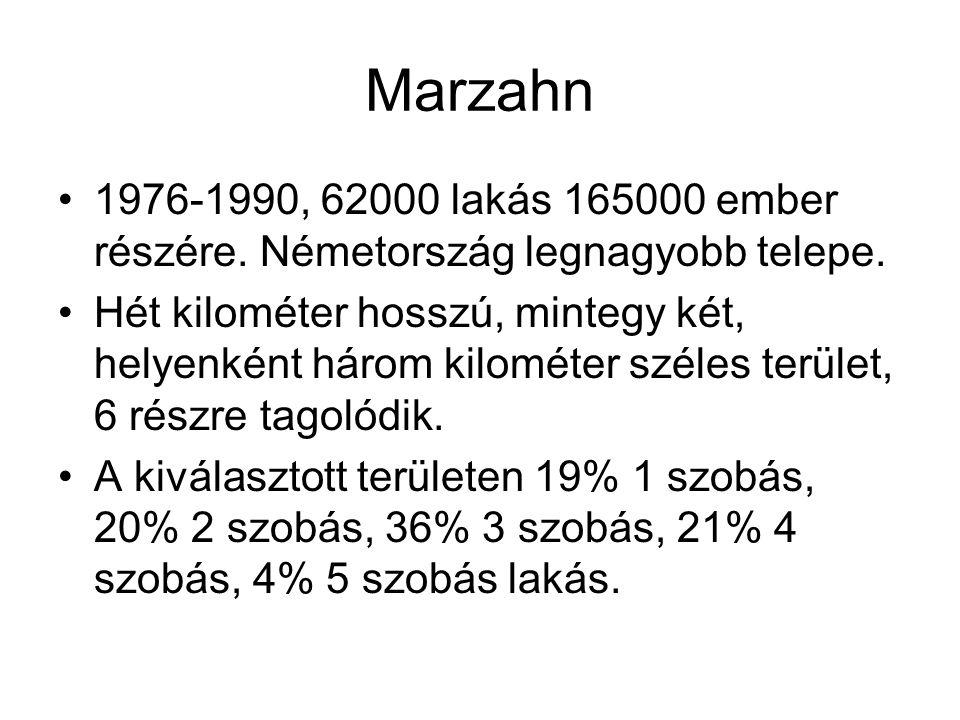 Marzahn 1976-1990, 62000 lakás 165000 ember részére. Németország legnagyobb telepe.