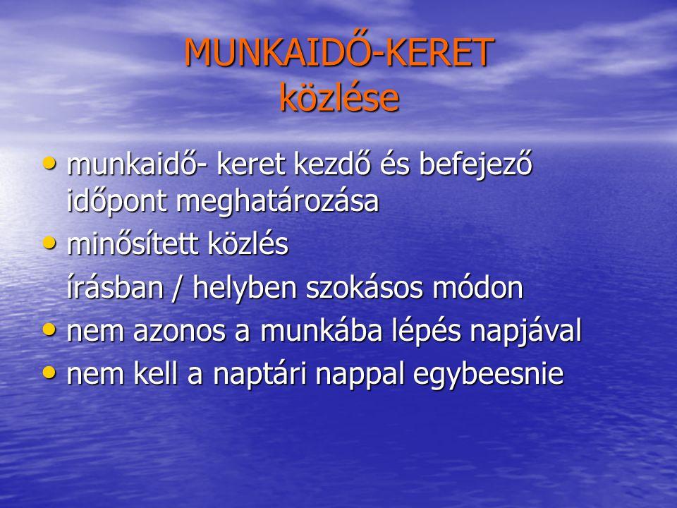 MUNKAIDŐ-KERET közlése