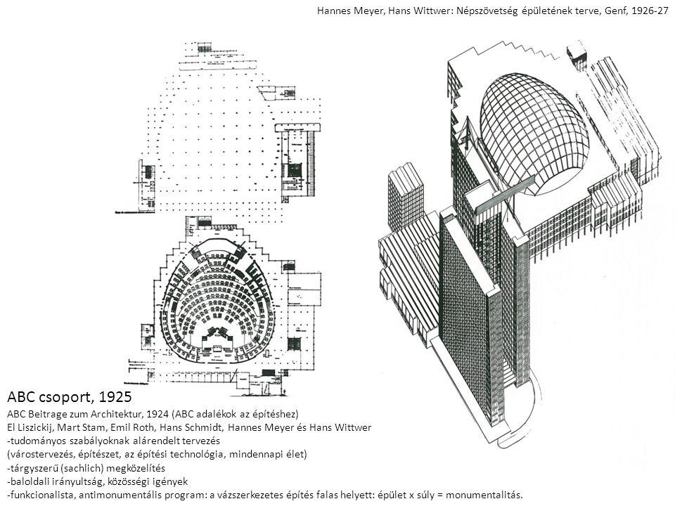 Hannes Meyer, Hans Wittwer: Népszövetség épületének terve, Genf, 1926-27