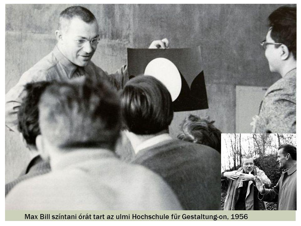 Max Bill színtani órát tart az ulmi Hochschule für Gestaltung-on, 1956