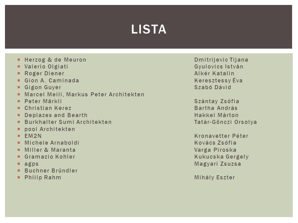 Lista Herzog & de Meuron Dmitrijevic Tijana