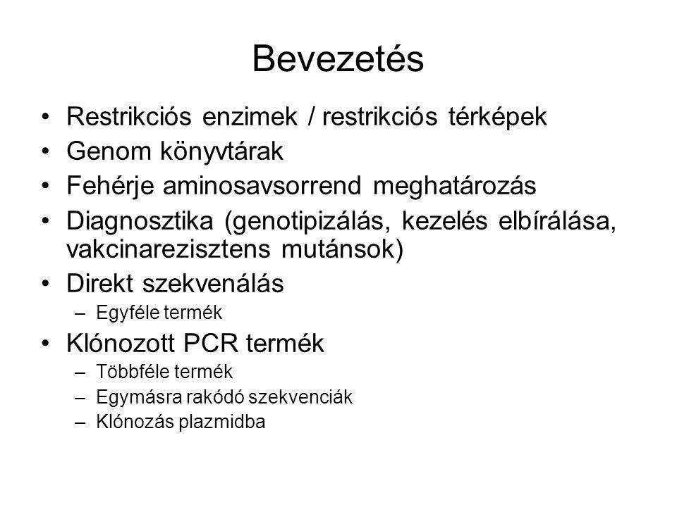Bevezetés Restrikciós enzimek / restrikciós térképek Genom könyvtárak