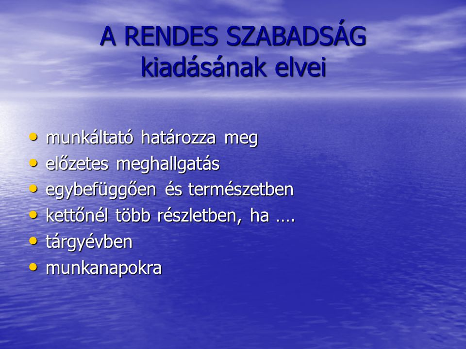 A RENDES SZABADSÁG kiadásának elvei