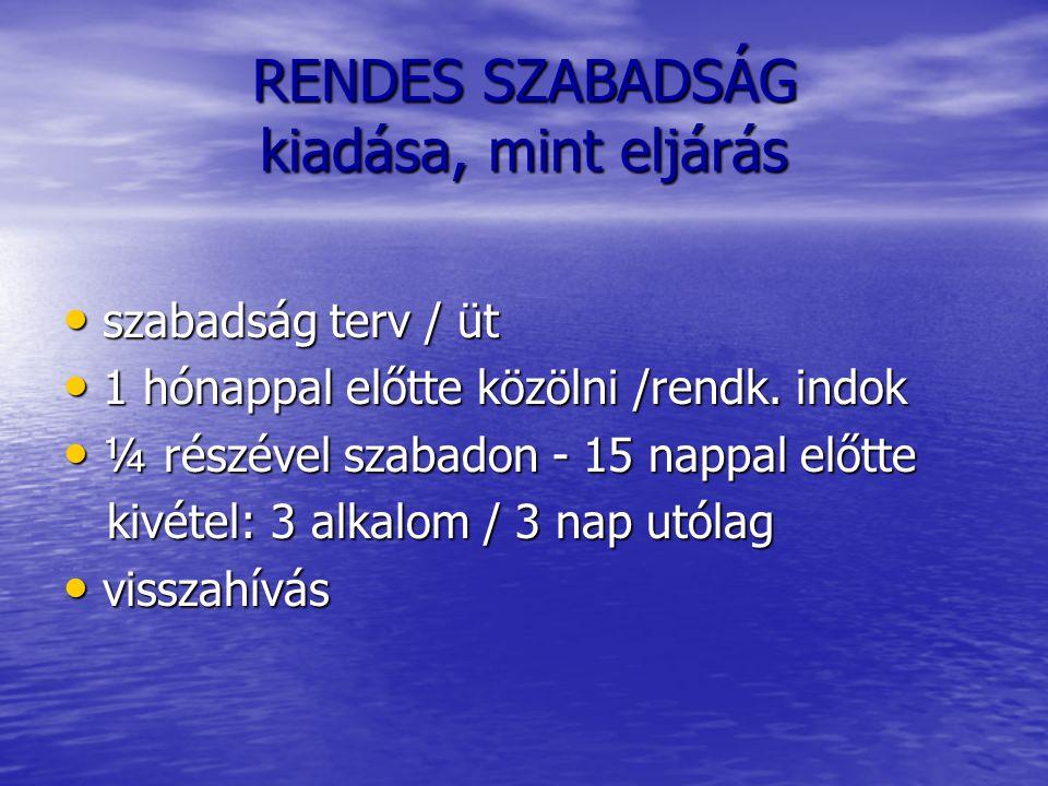 RENDES SZABADSÁG kiadása, mint eljárás