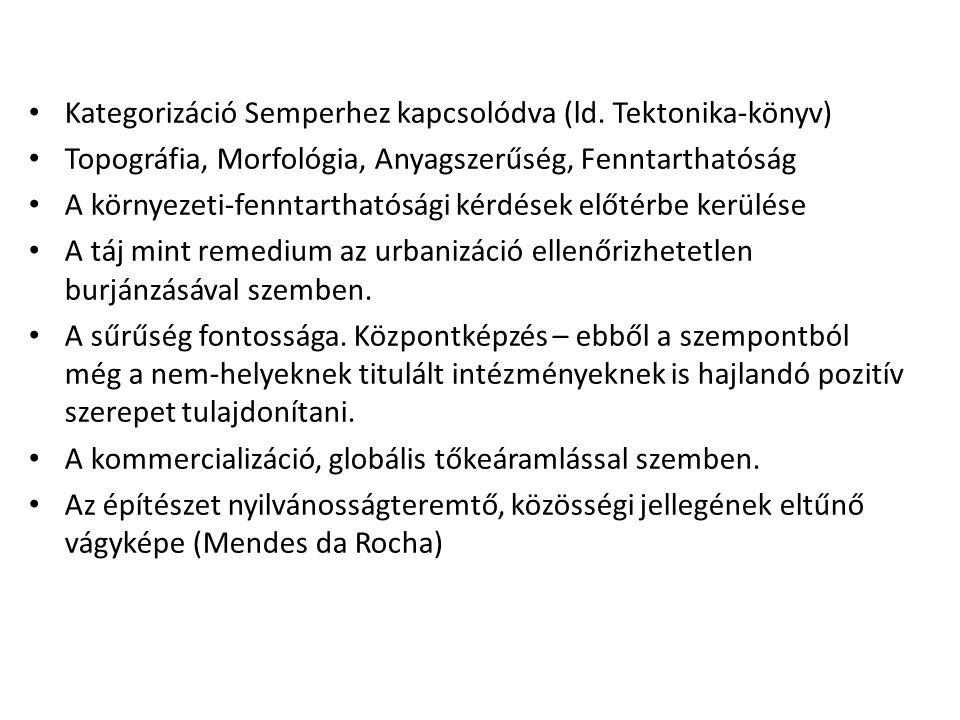 Kategorizáció Semperhez kapcsolódva (ld. Tektonika-könyv)