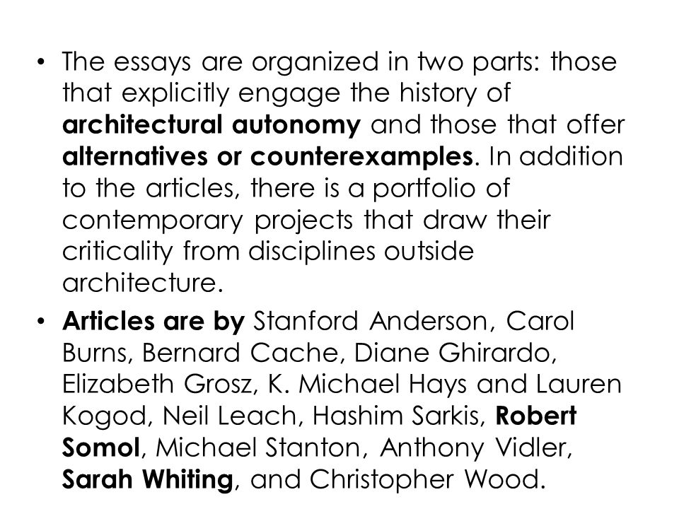 The essays are organized in two parts: those that explicitly engage the history of architectural autonomy and those that offer alternatives or counterexamples. In addition to the articles, there is a portfolio of contemporary projects that draw their criticality from disciplines outside architecture.