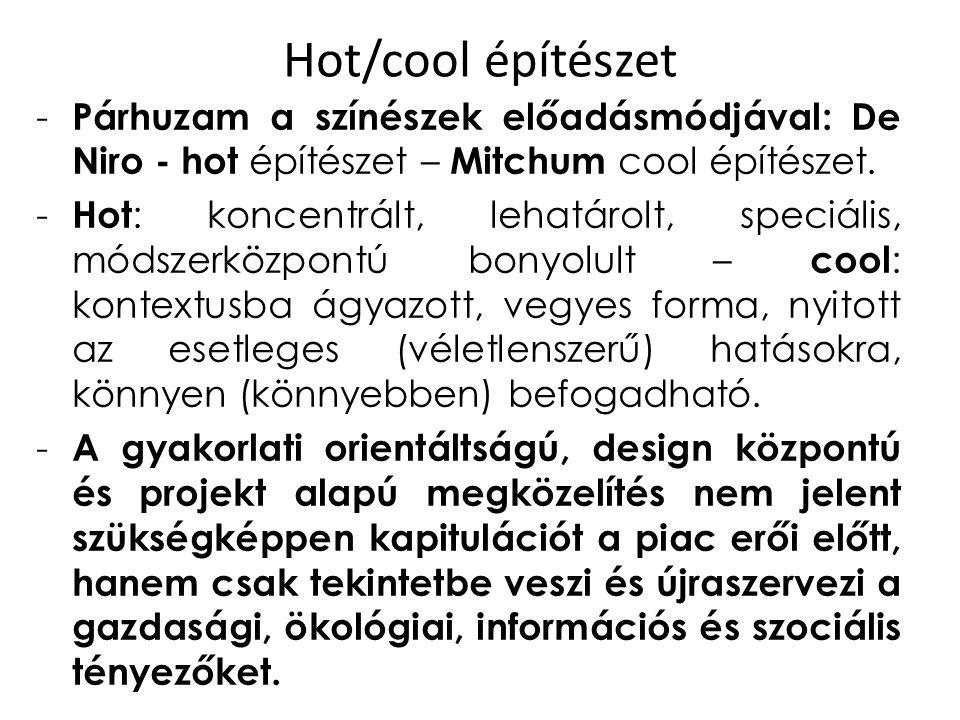 Hot/cool építészet Párhuzam a színészek előadásmódjával: De Niro - hot építészet – Mitchum cool építészet.