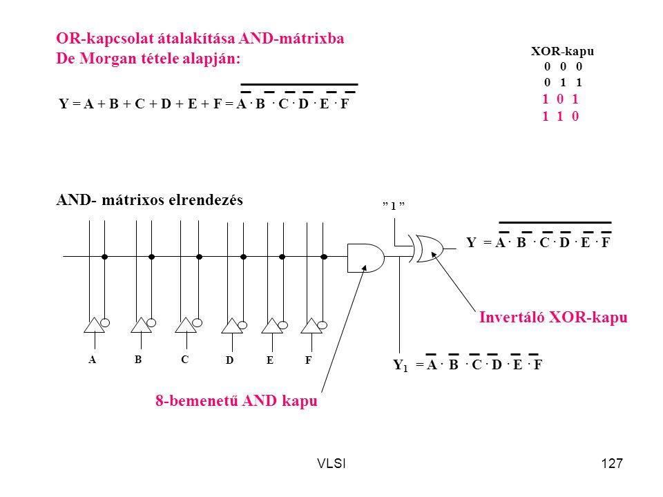 OR-kapcsolat átalakítása AND-mátrixba De Morgan tétele alapján: