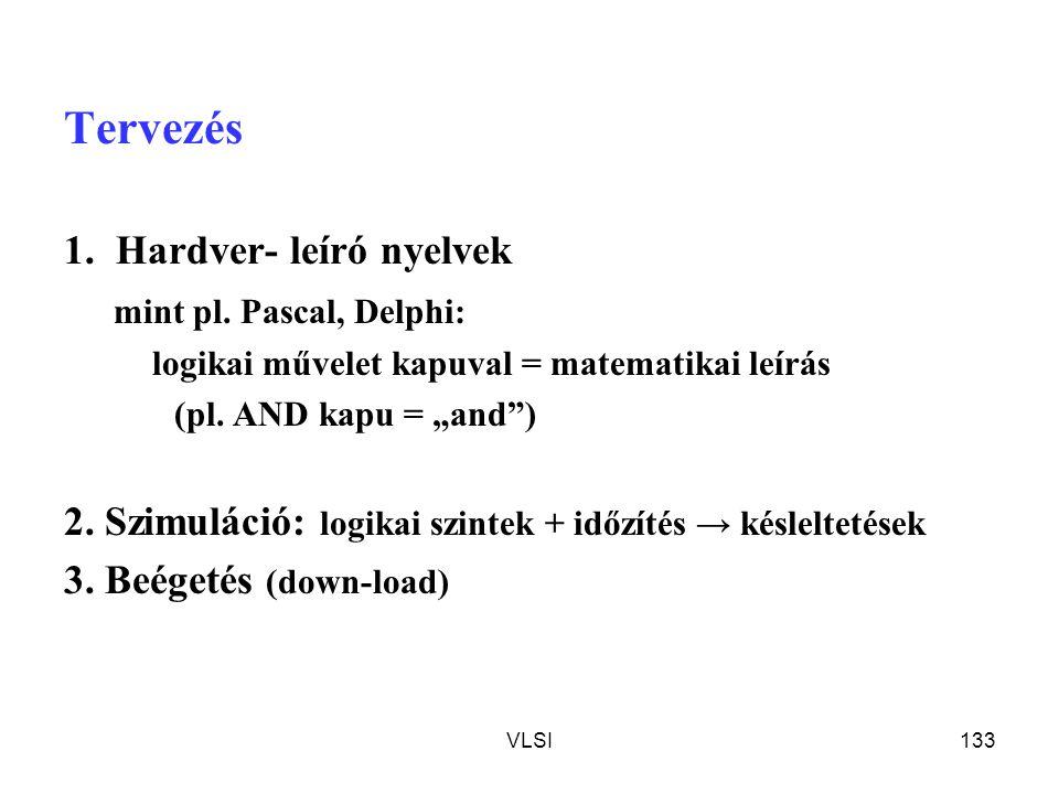 Tervezés 1. Hardver- leíró nyelvek mint pl. Pascal, Delphi: