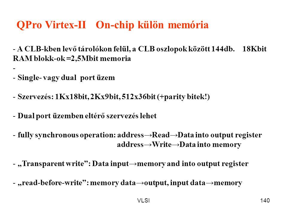 QPro Virtex-II On-chip külön memória